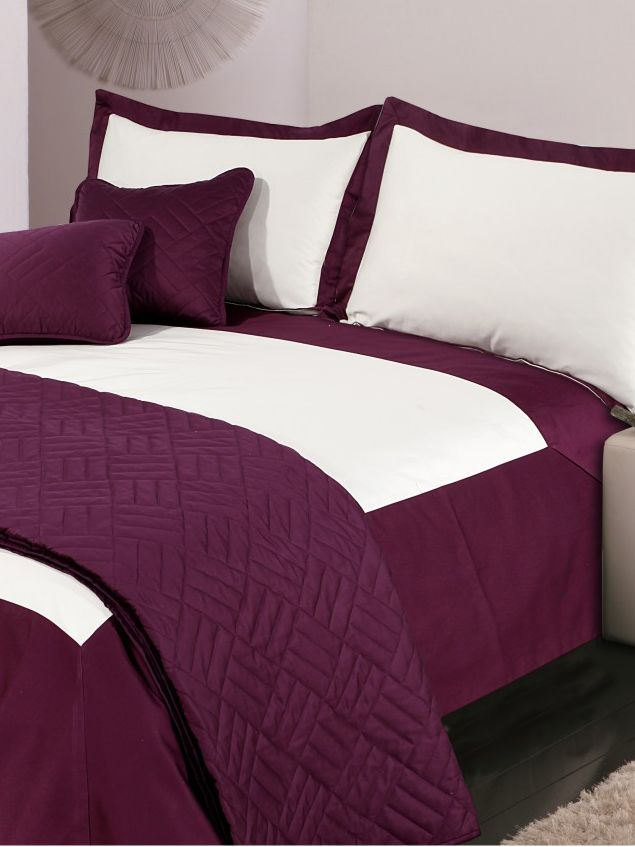 Oxford double duvet cover set cream & plum