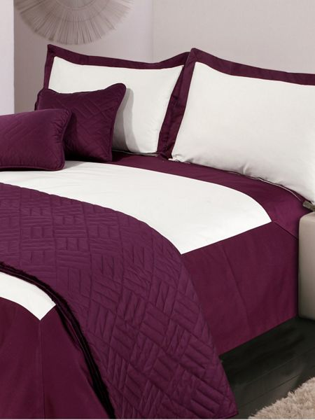 Luxury Hotel Collection Oxford single duvet cover set cream & plum