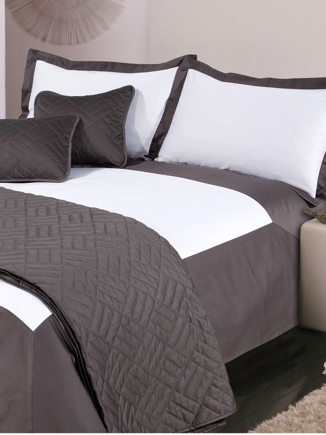 Oxford single duvet cover set white & grey