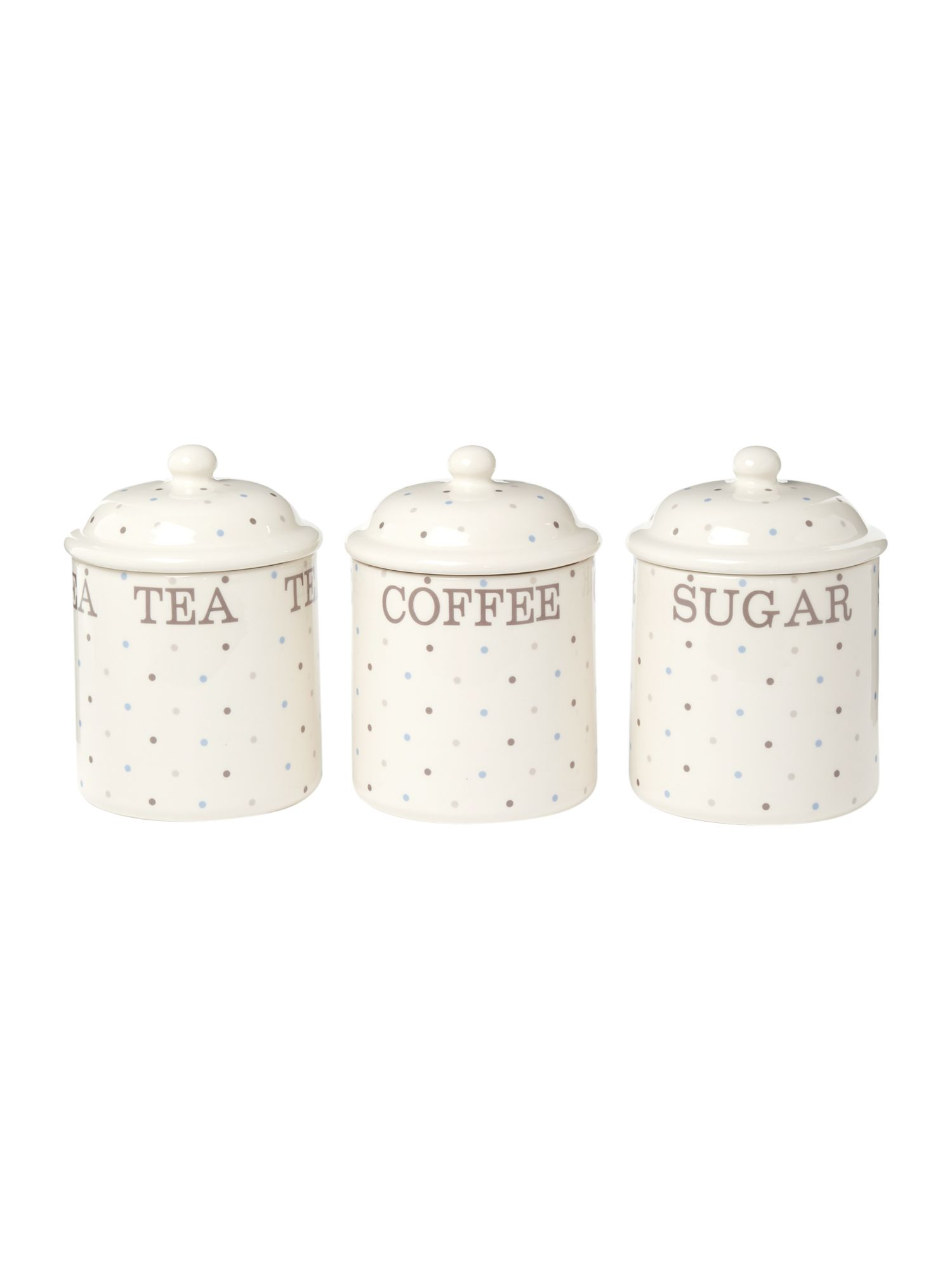 Homespun dotty storage jars