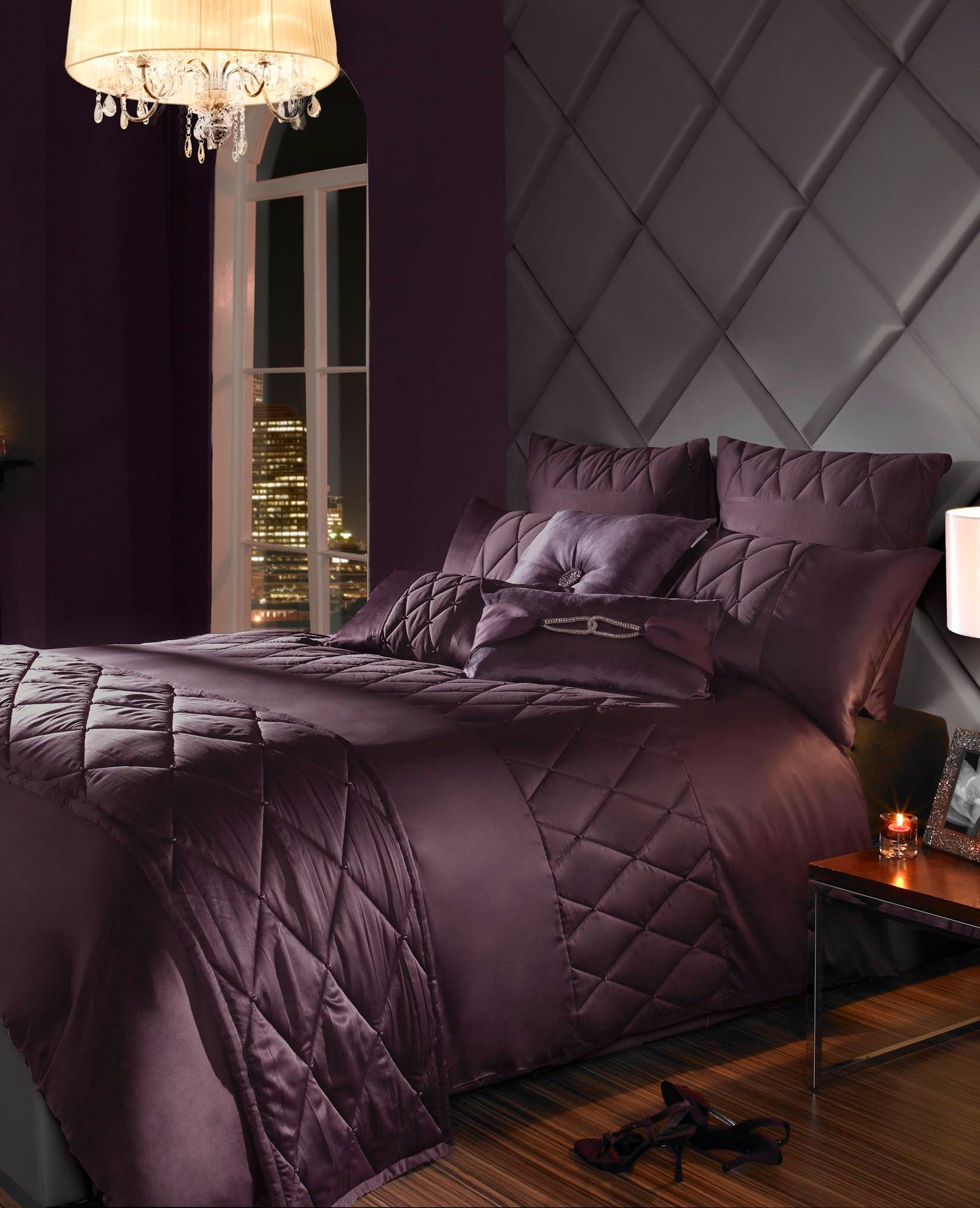 Liverna single duvet cover damson