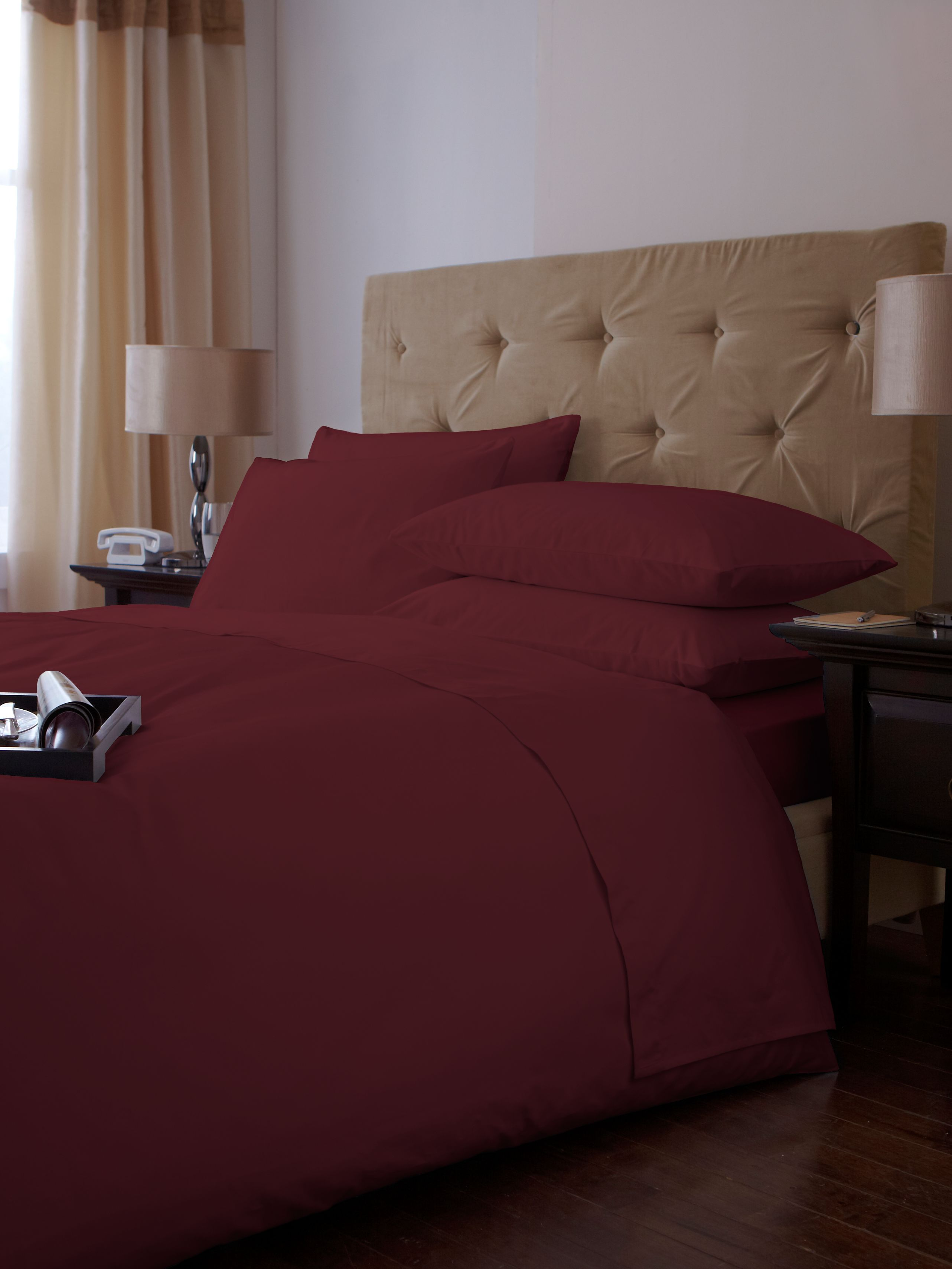 500 TC oxford square pillowcase pair cherry
