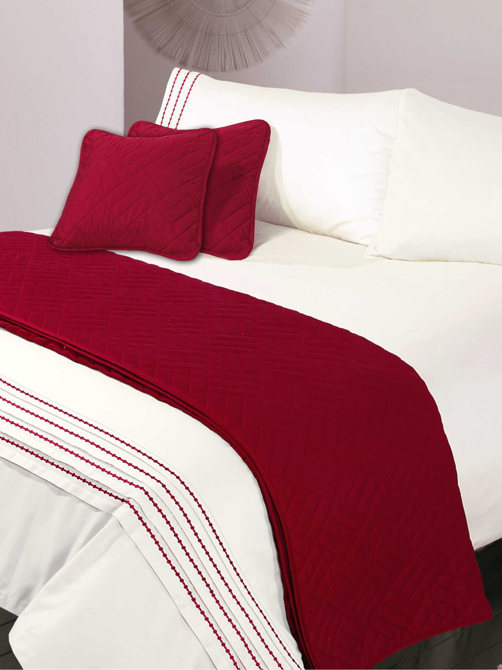 Pearl Embroidery double duvet cover set cherry