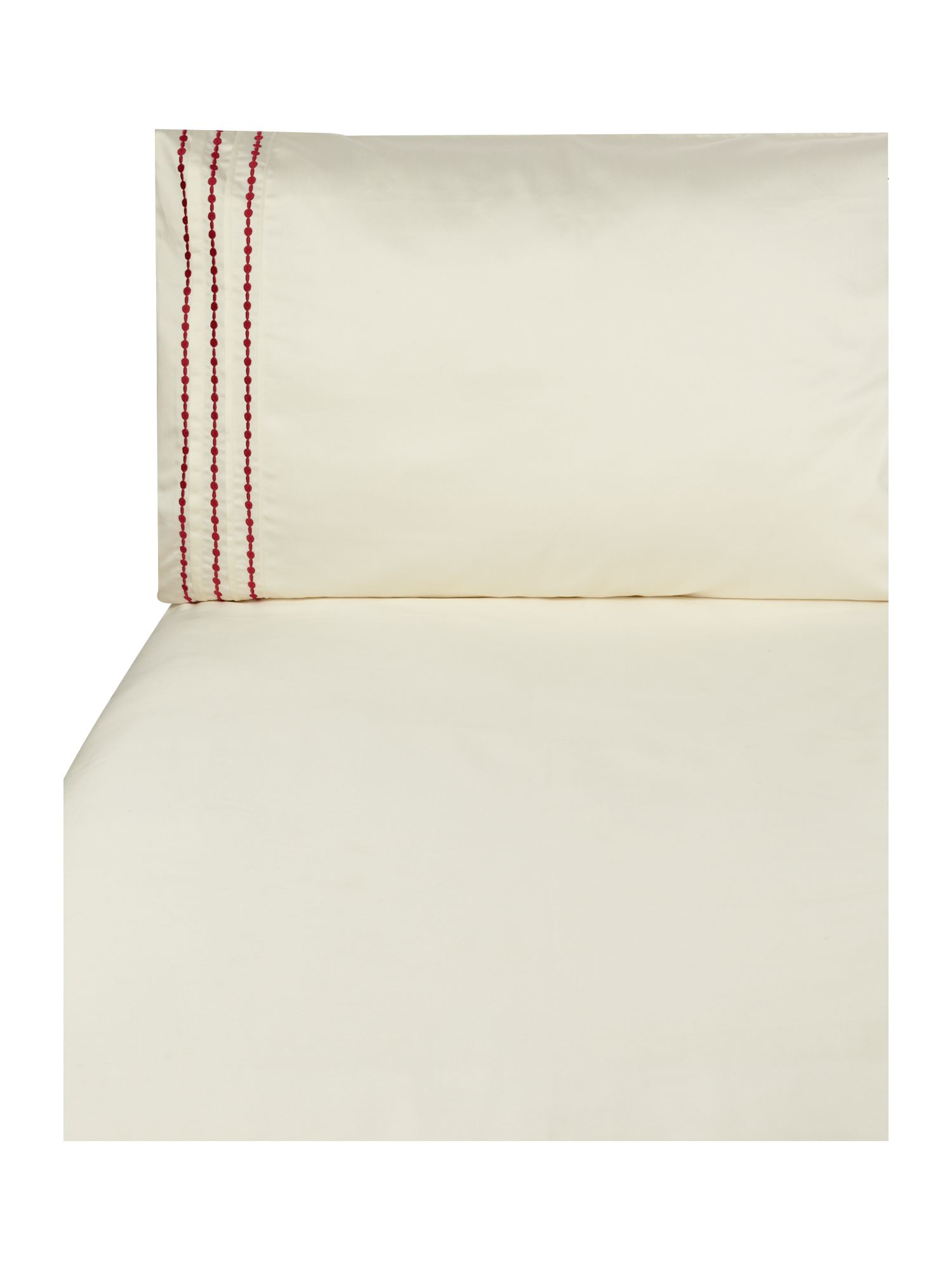 Pearl embroidery bed linen in cherry