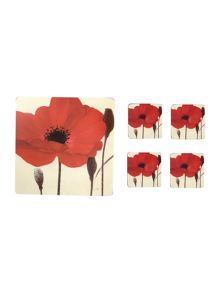 Red poppy placemats snd coasters