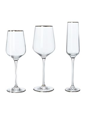 Casa Couture Platinum band glassware