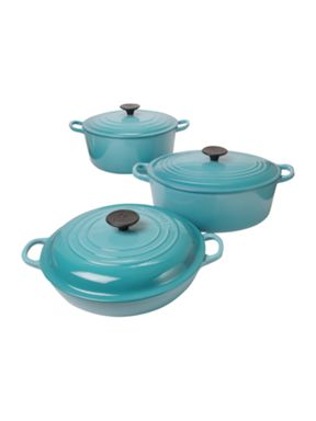 Le Creuset Cat Iron cookware in Teal