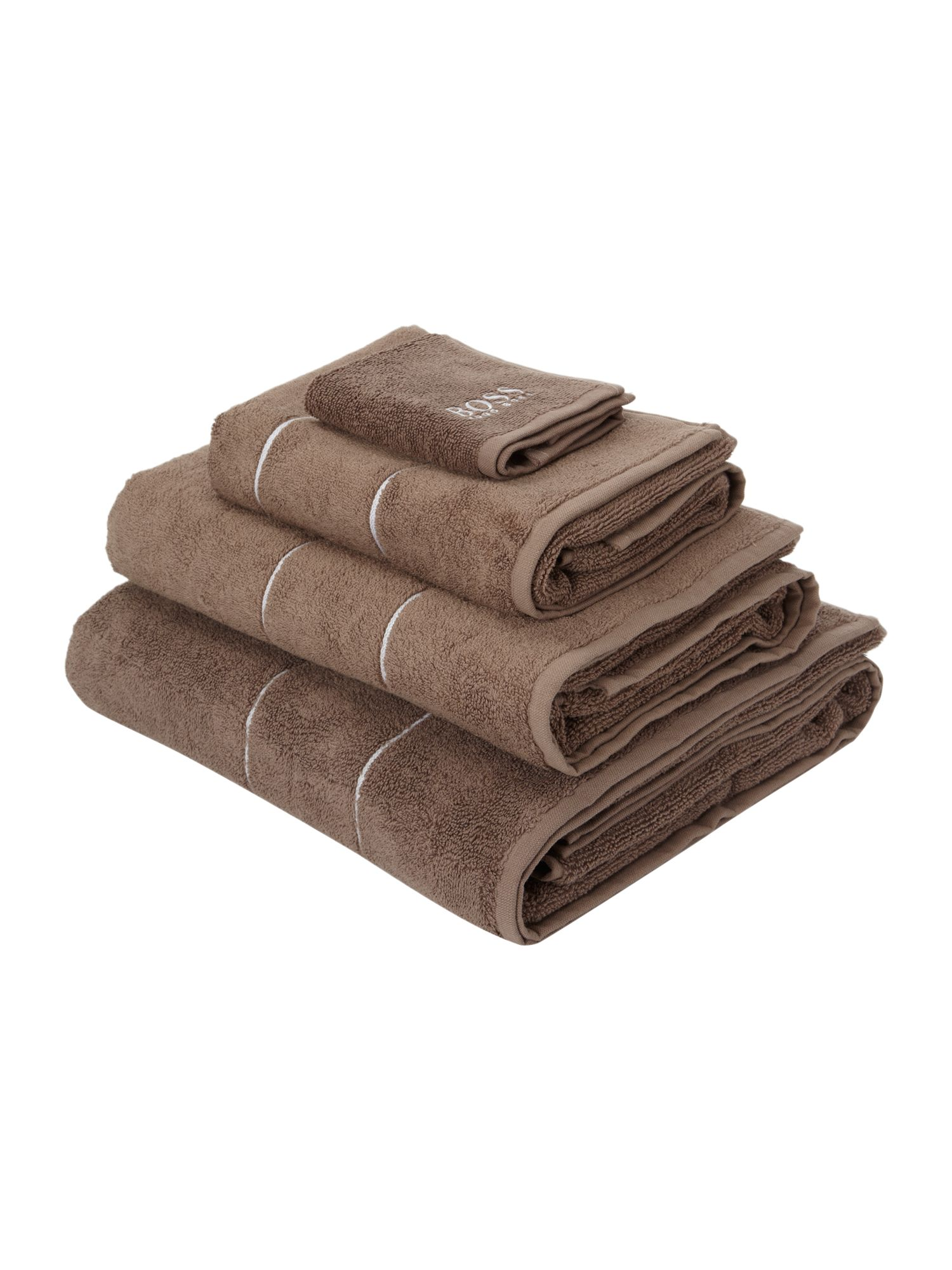 Logo egyptian cotton towels in taupe