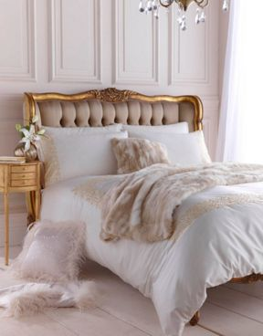Biba Serena bedlinen with gold embroidery