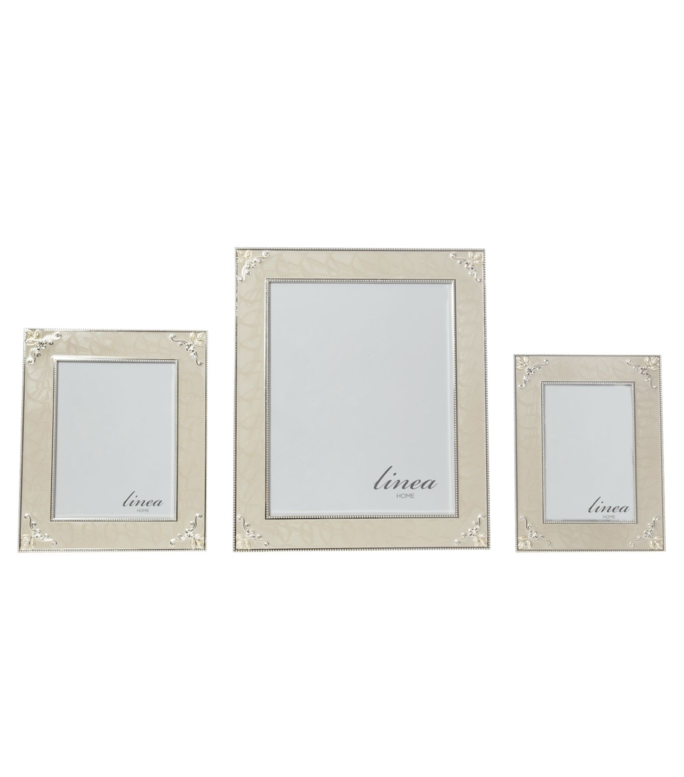Cream enamel and pearl photo frames