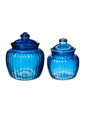 Linea Blue glass jars