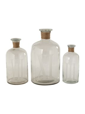 Linea Glass medicine bottles with rope trim