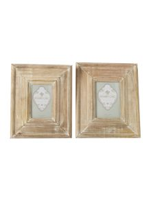 Oversized whitewashed wooden photo frame