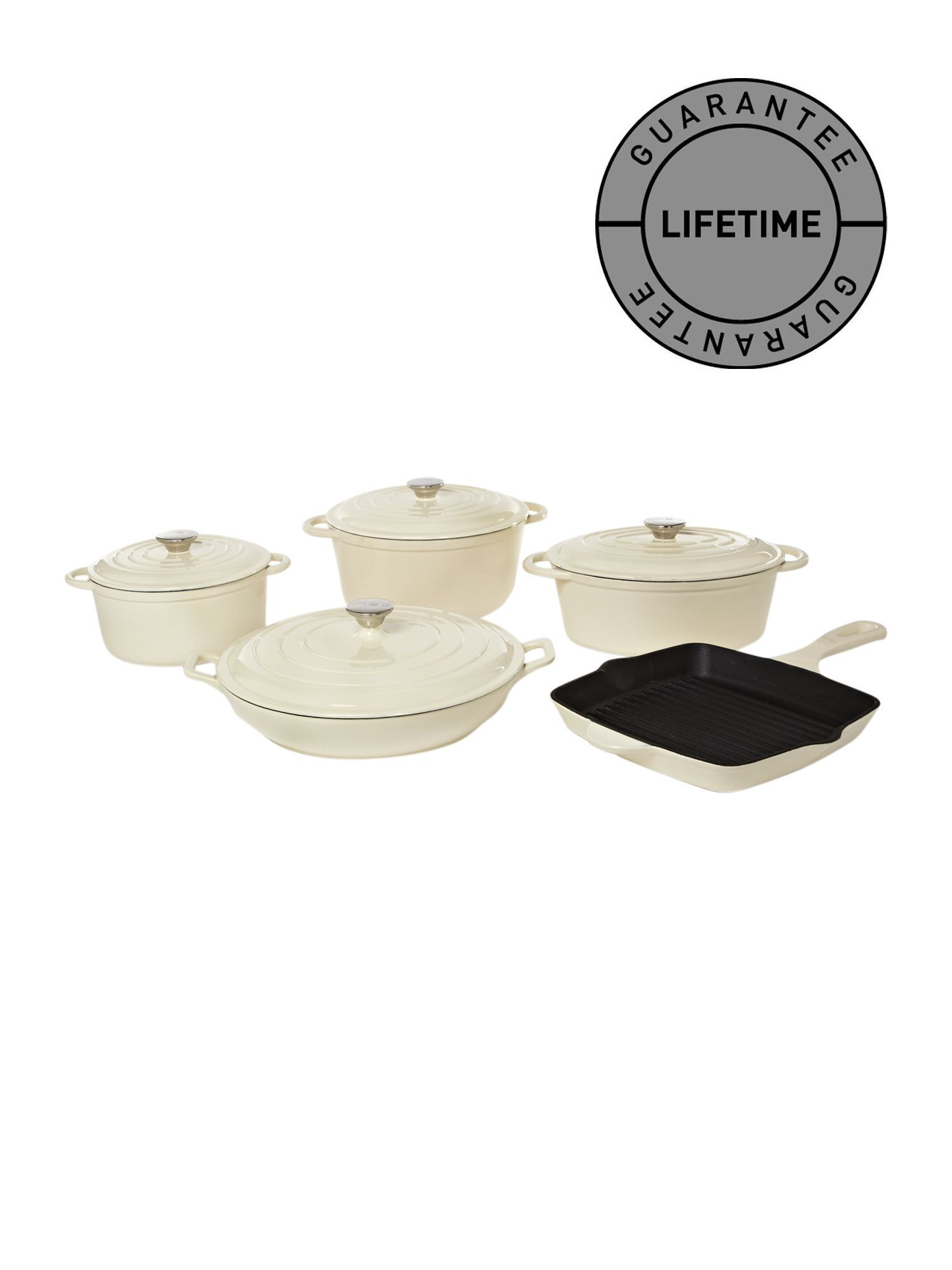 Cast iron cookware in cream