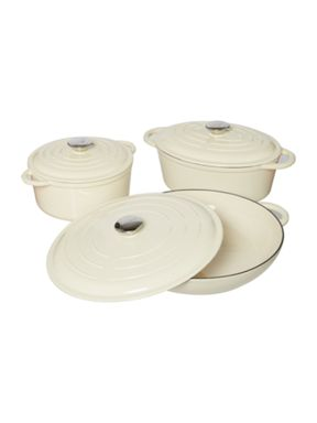 Linea Cast iron cookware in cream