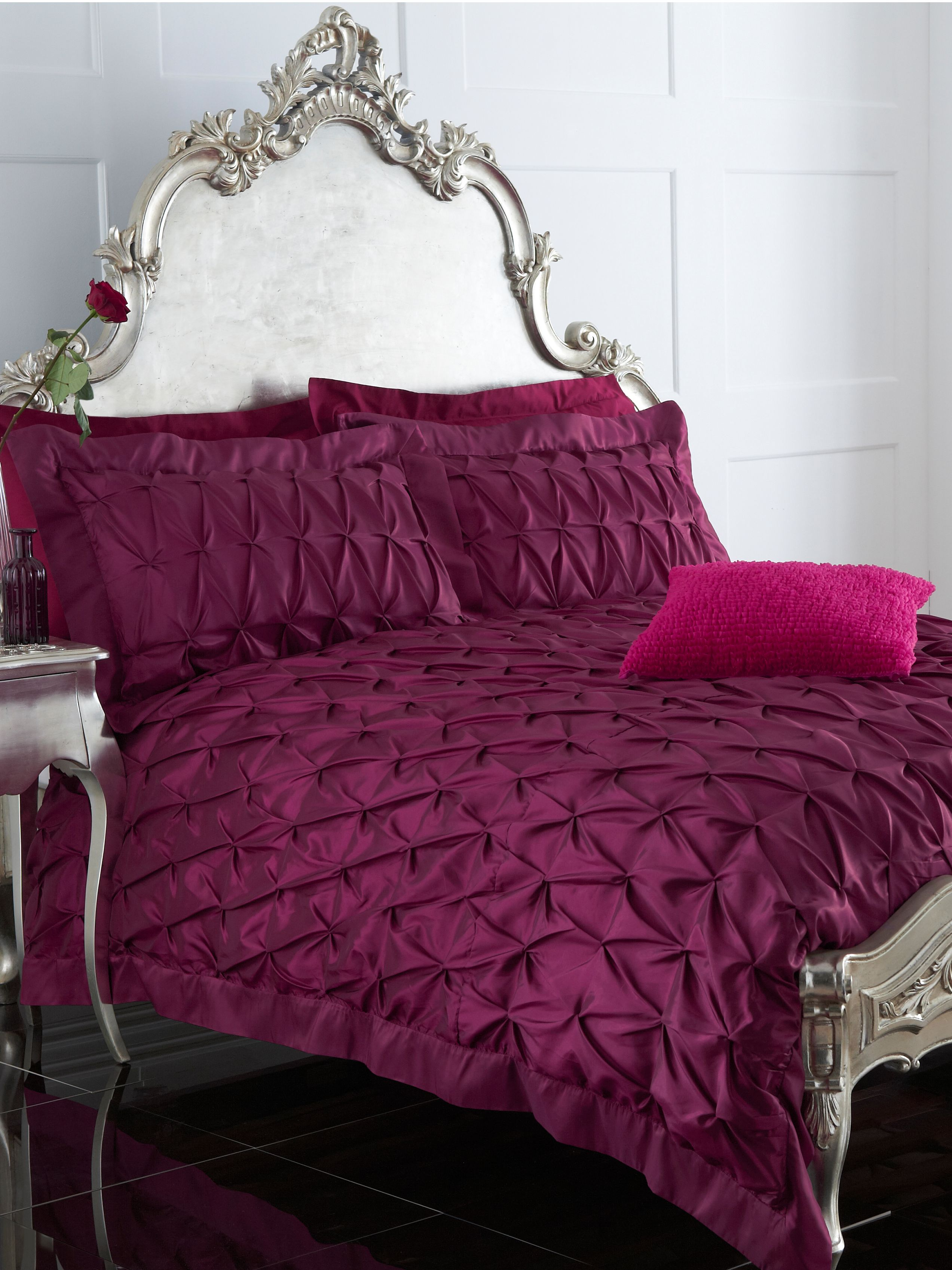 Fuchsia pintuck single duvet cover