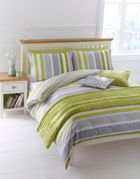 Linea Lime striped bed linen sets