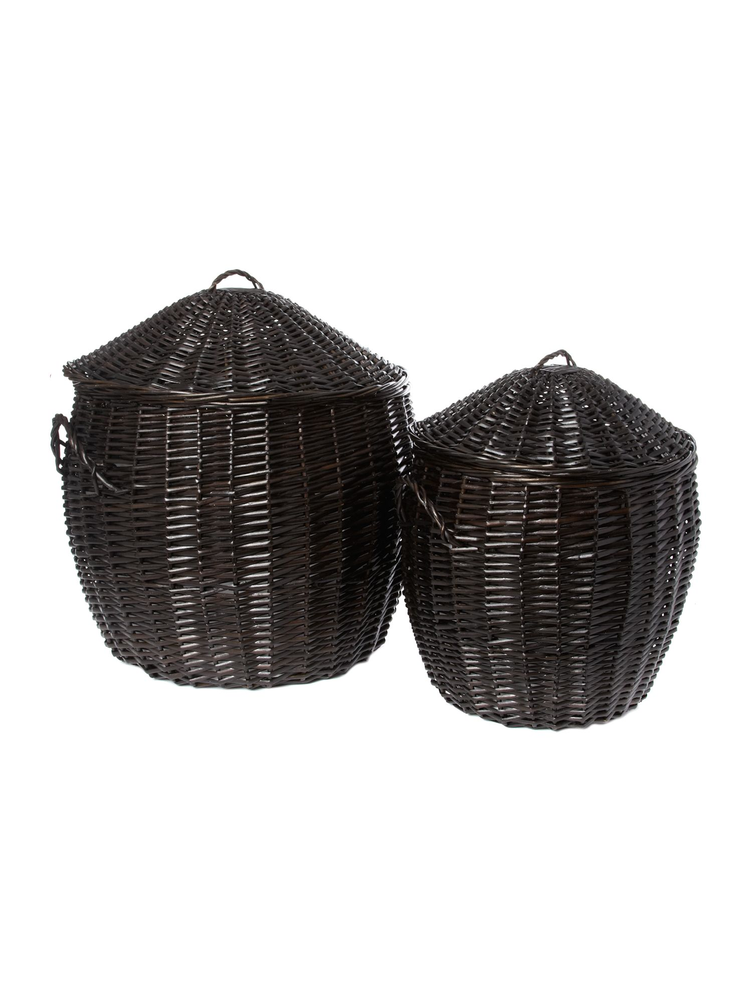 Rounded dark willow laundry baskets