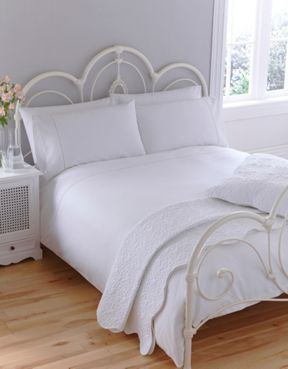 Linea Pique weave duvet cover sets in white