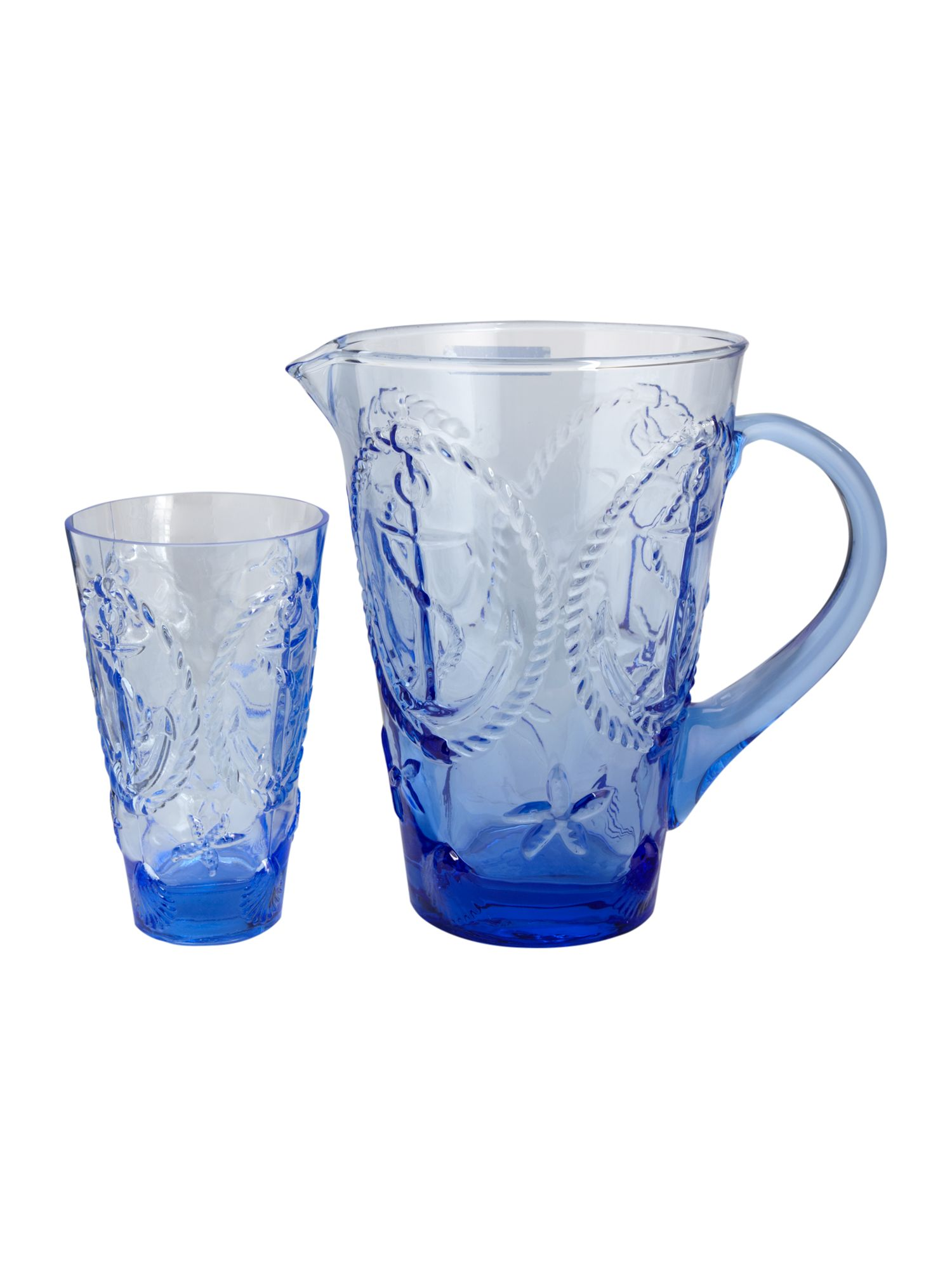 Nautical pressed blue glassware range