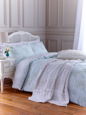 Shabby Chic Ikat rose bedlinen in duck egg