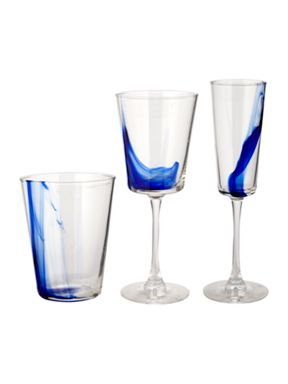 Linea Blue colour drip glassware