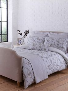 Chinese blossom bed linen in grey