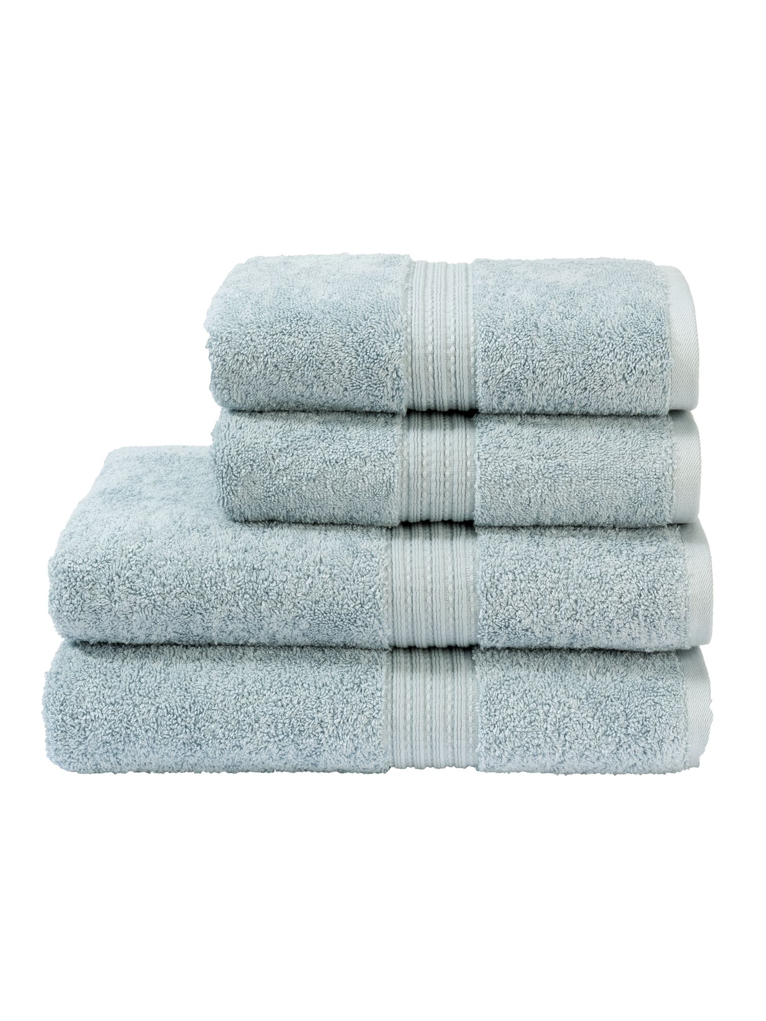 Plush towels in pastel blue