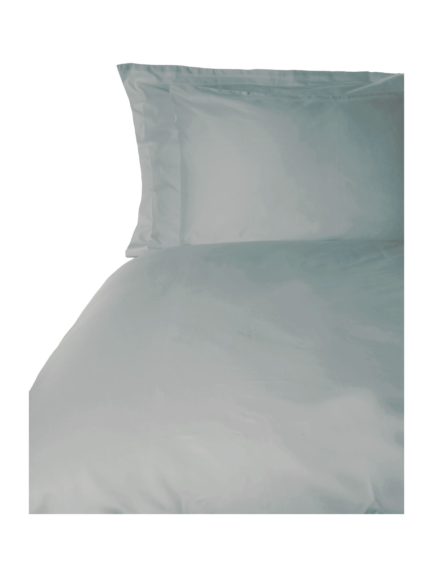 500 TC single fitted sheet pair duck egg