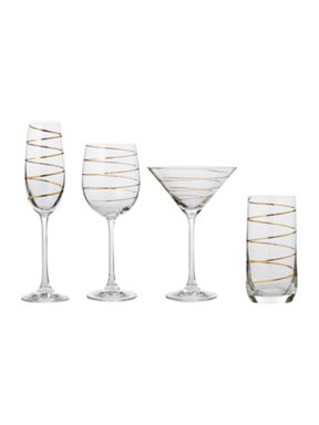 Pied a Terre Gold spiral glassware
