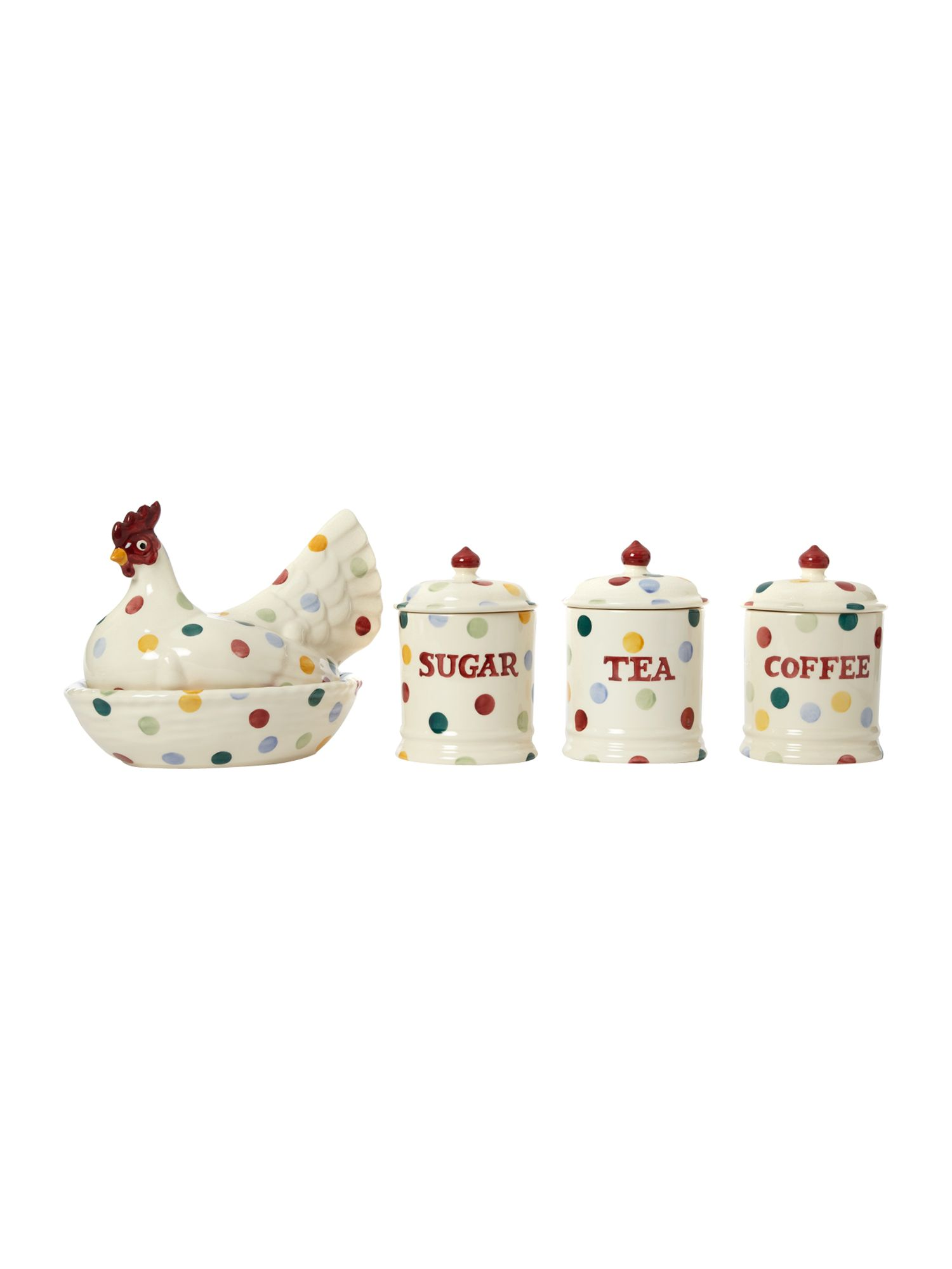 Polka dot kitchen storage jar range