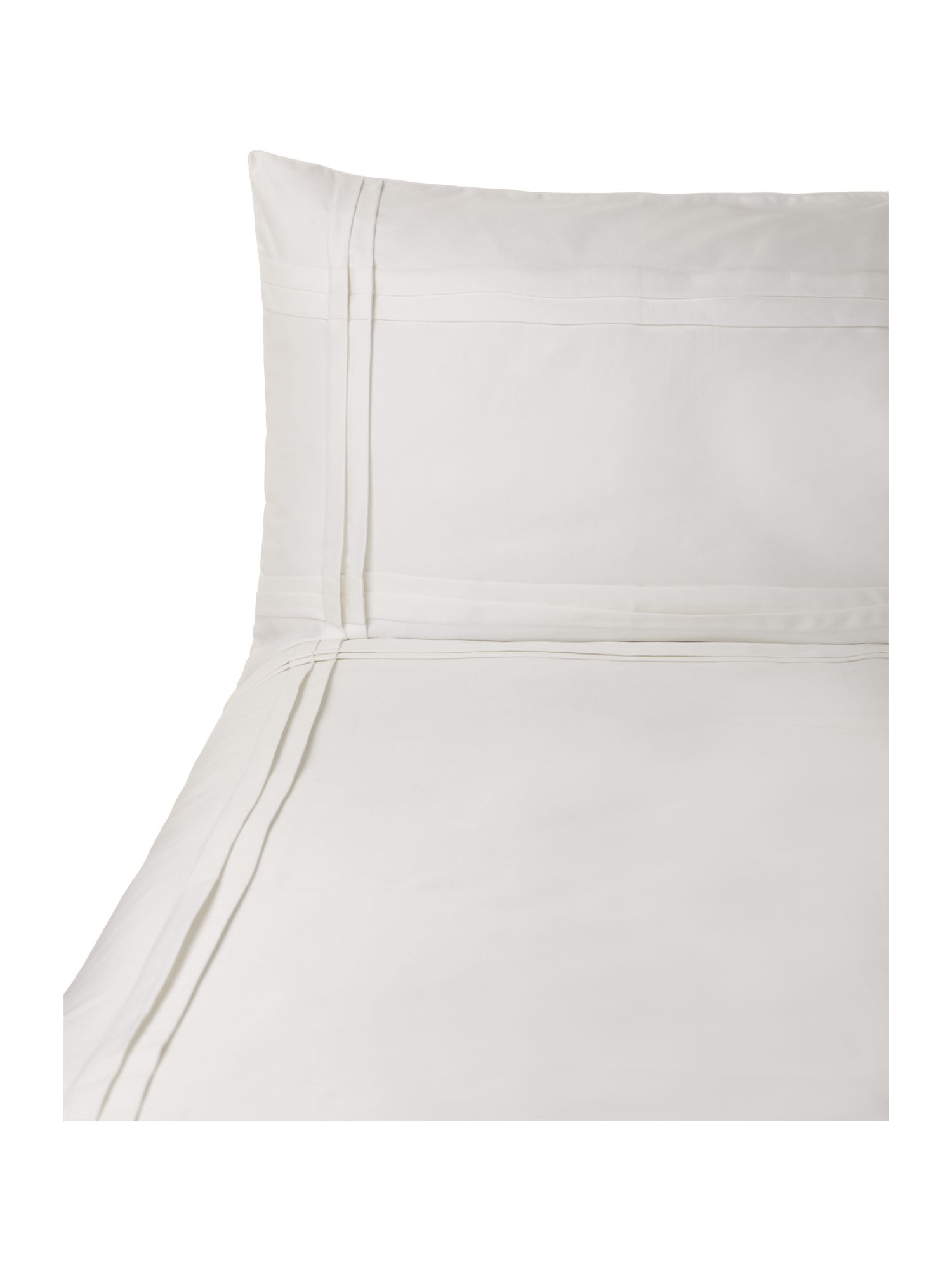 Criss Cross Pleat double duvet cover set white