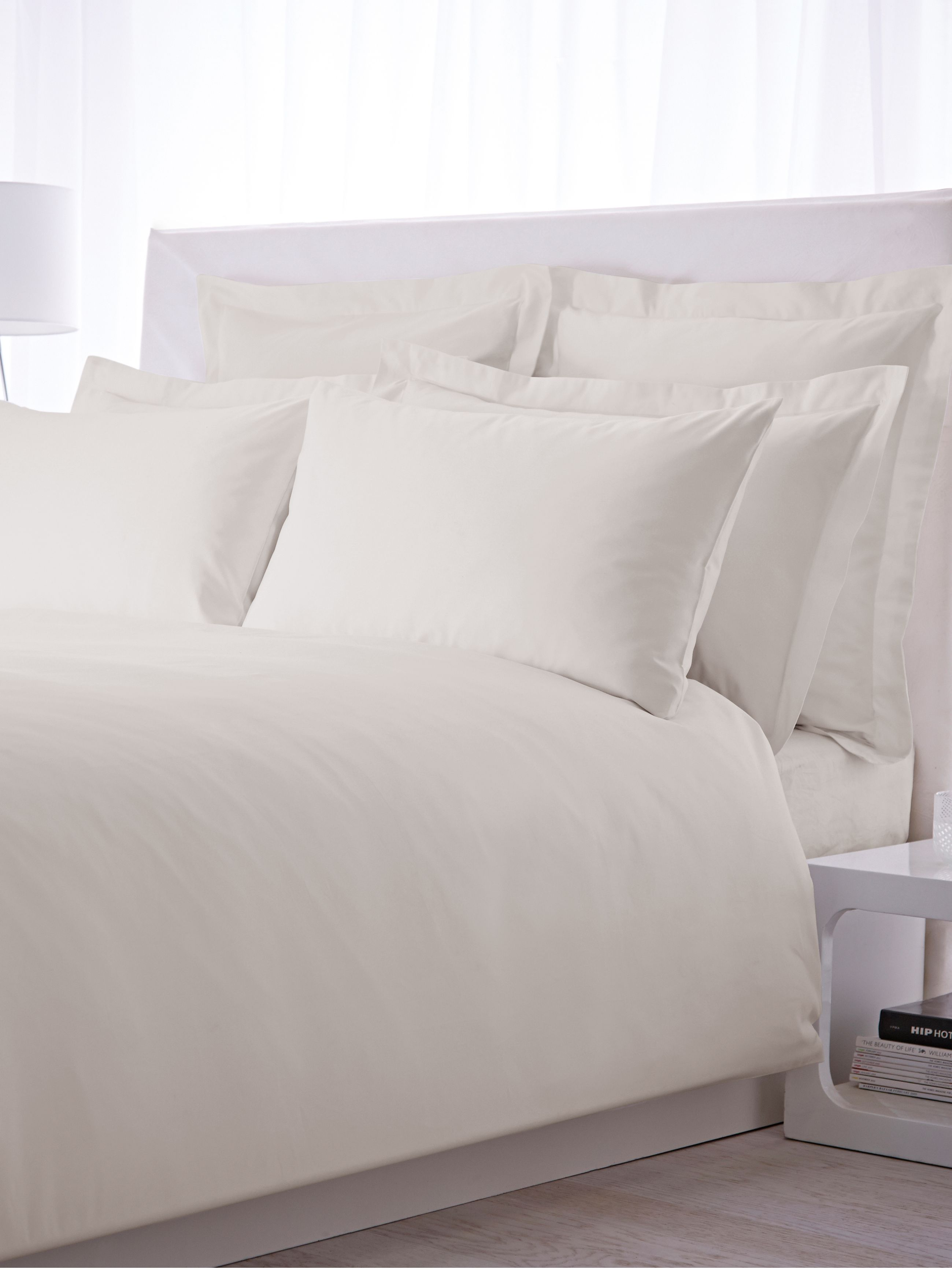 500 thread count single duvet cover set cream