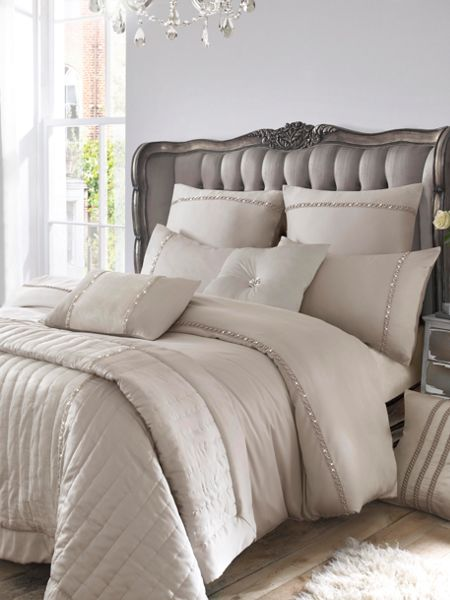 Kylie Minogue Pearl Pleat king duvet cover dove grey