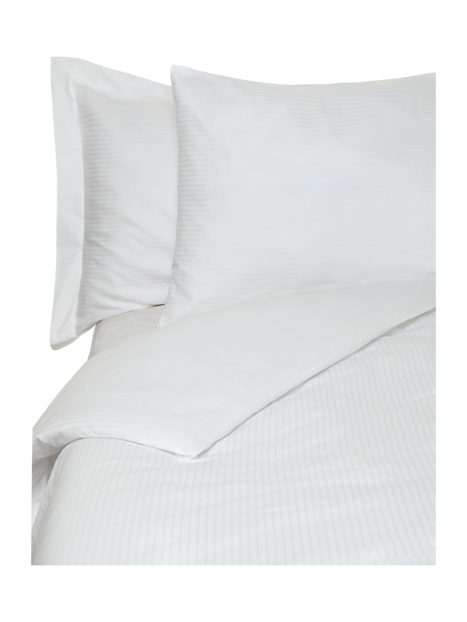Dobby stripe bed linen in white