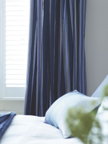 Bedeck Marco stripe lined curtains 66x72 navy