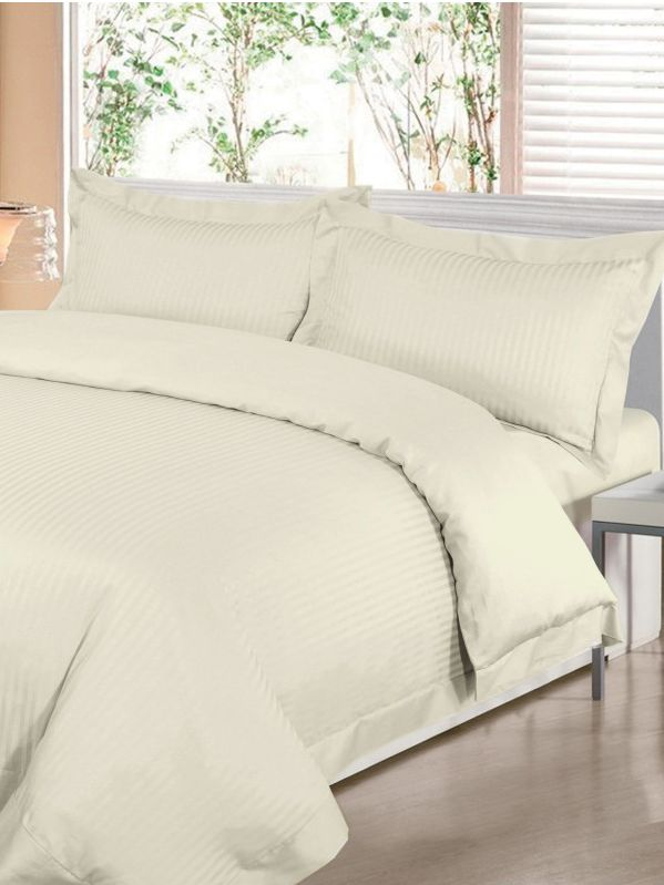 Satin stripe double duvet cover set cream