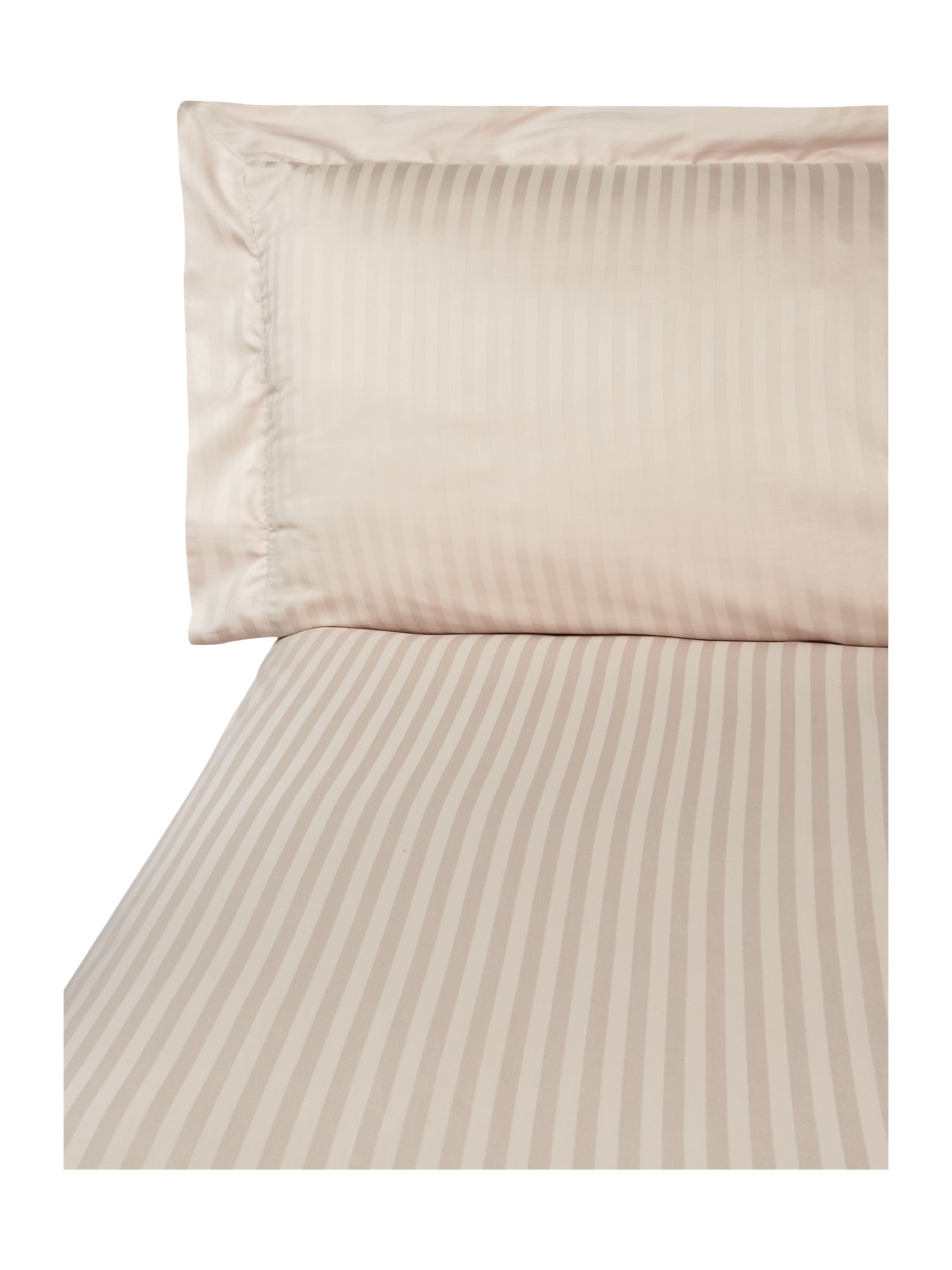 Satin stripe single duvet cover set oyster