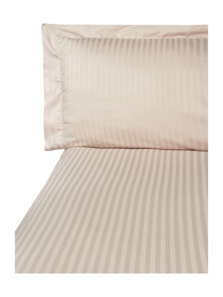 Luxury Hotel Collection Satin stripe single duvet cover set oyster