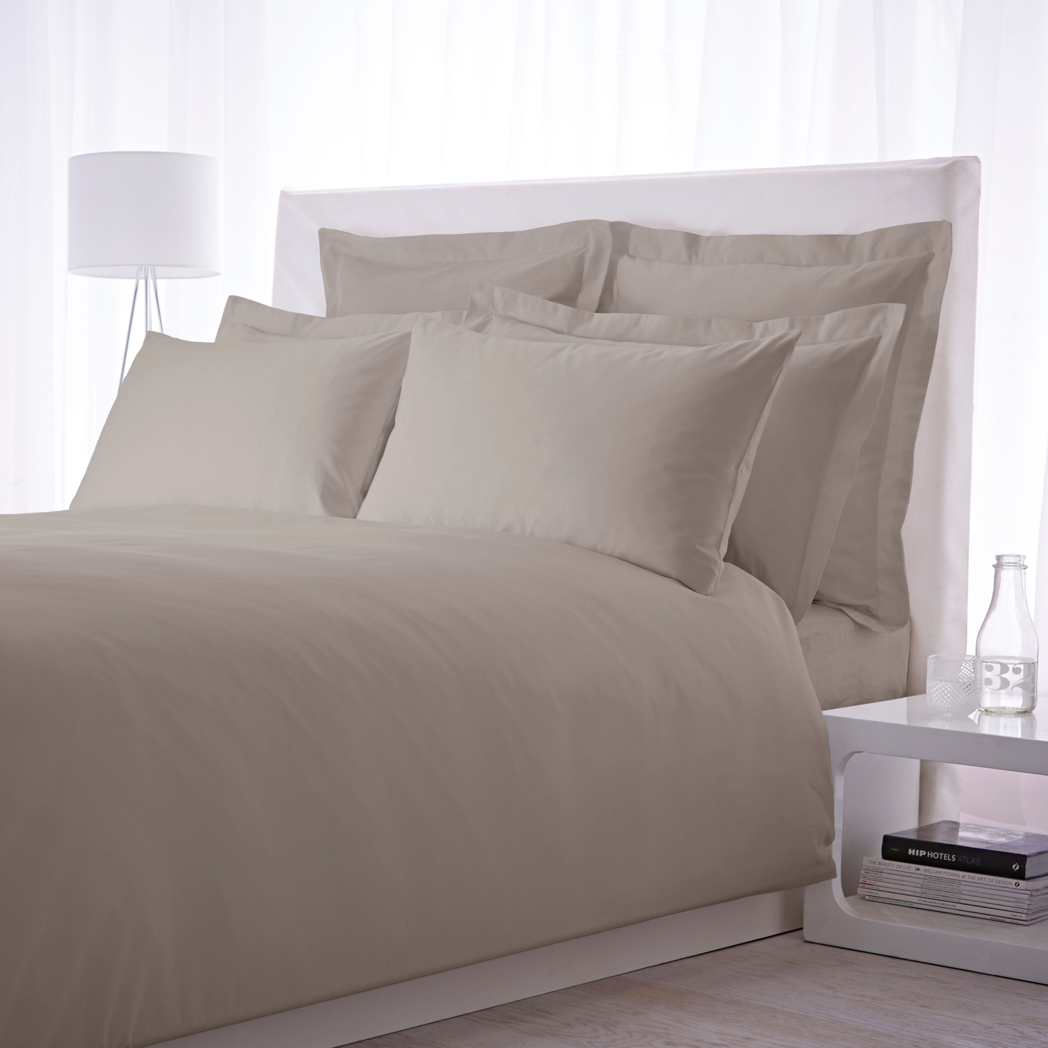 500 TC super king size duvet cover set taupe