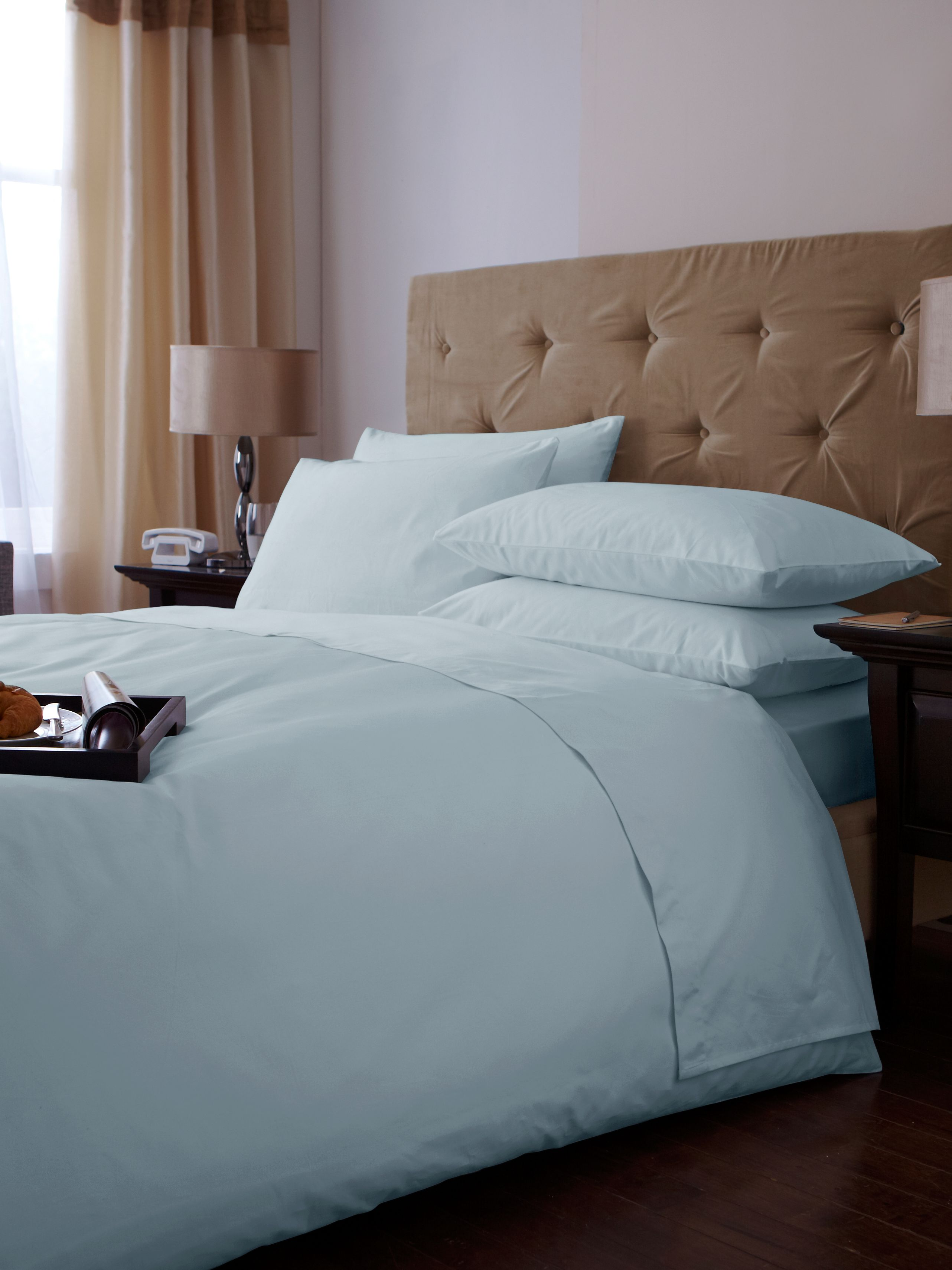 500 TC single duvet cover set soft blue