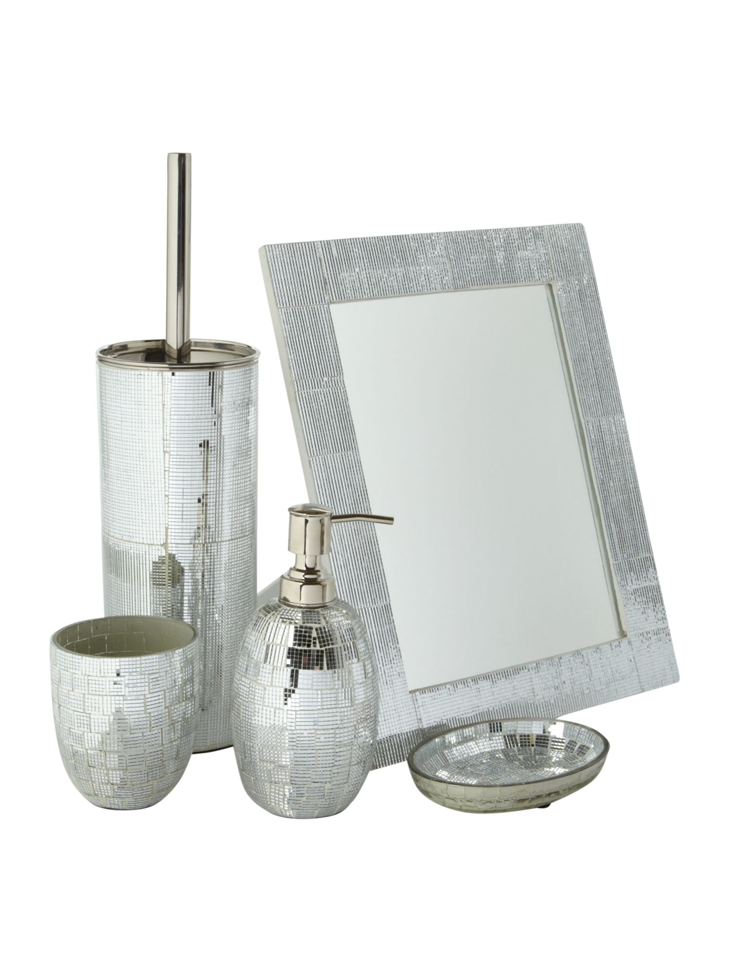 beautiful silver mosaic bathroom accessories photos - 3d house