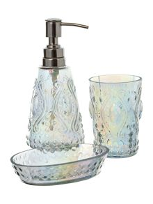 Glass embossed scroll bath accessories
