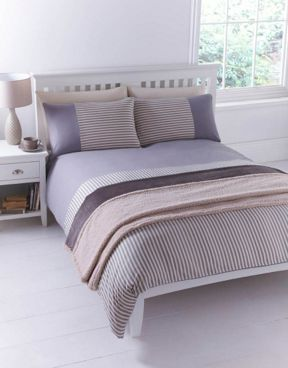 Linea Grey stripe duvet set