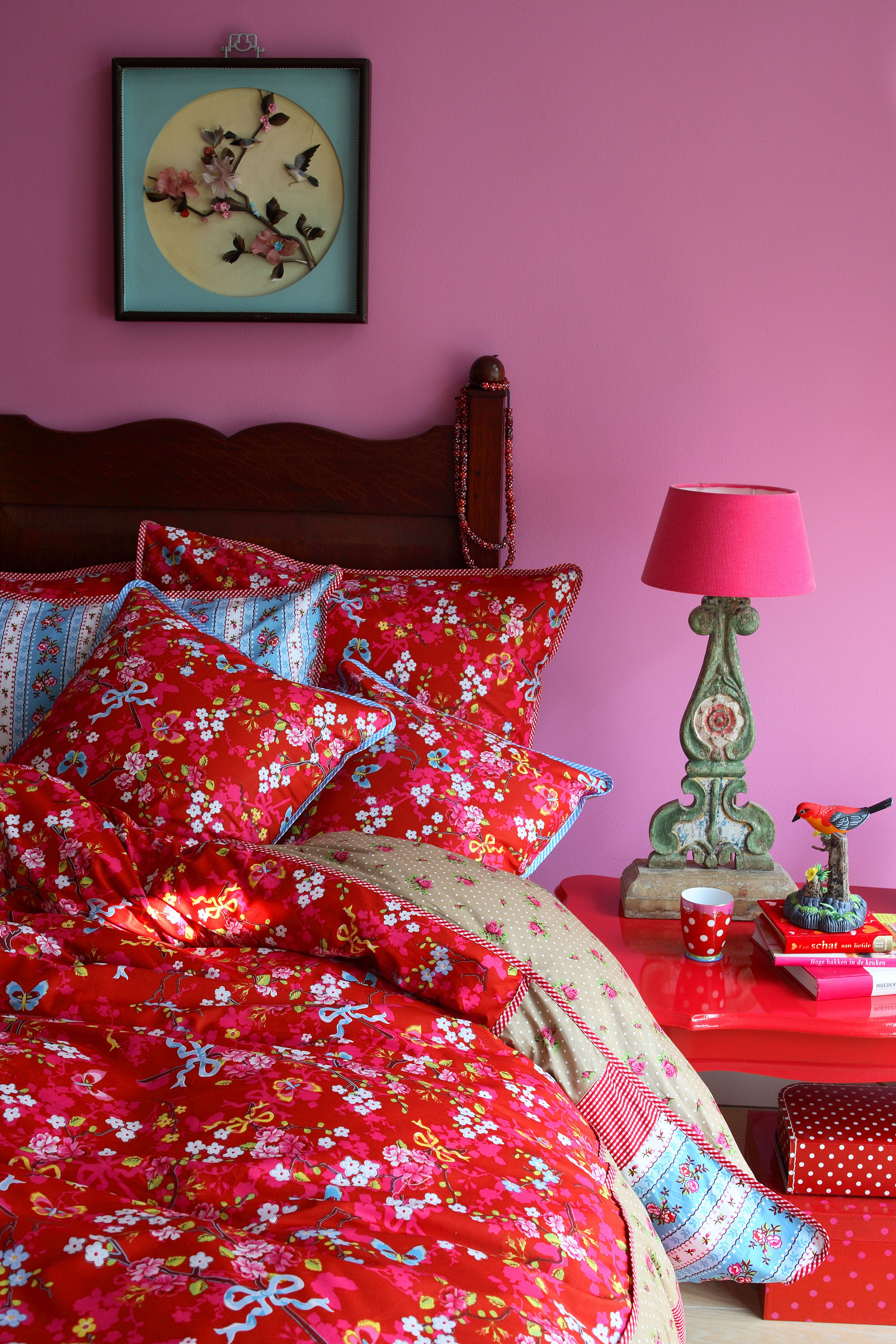 Chinese rose bedlinen sets in red
