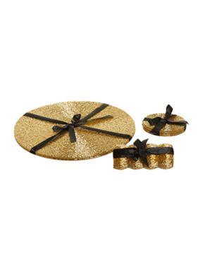 Linea Gold bugle coaster and placemat range