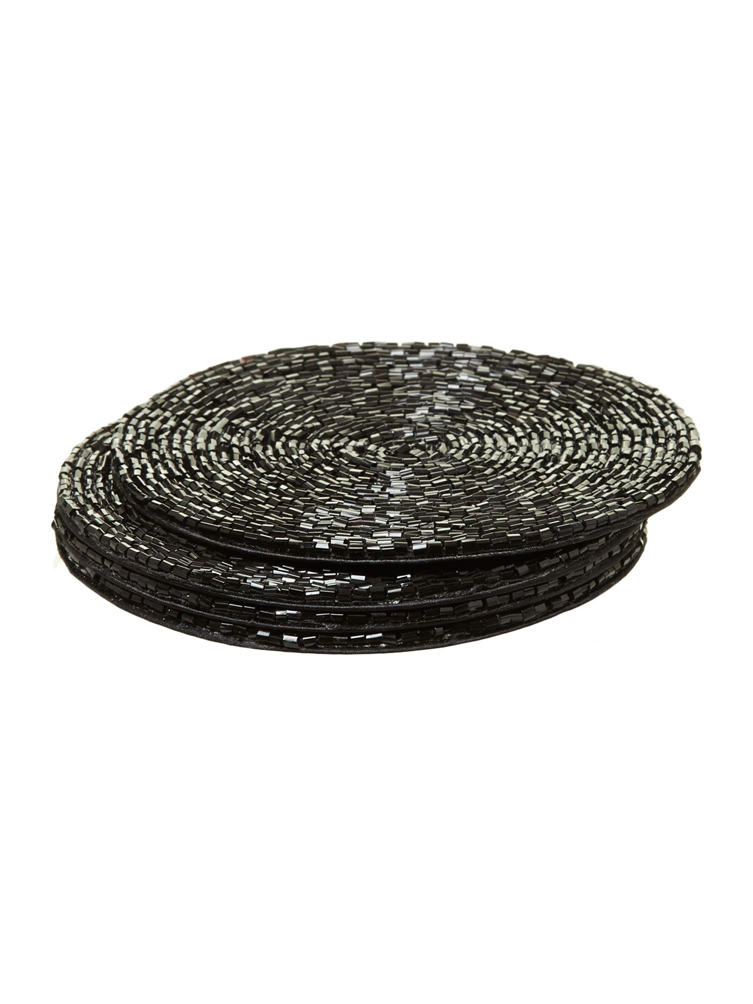 Black bugle bead coaster set 4