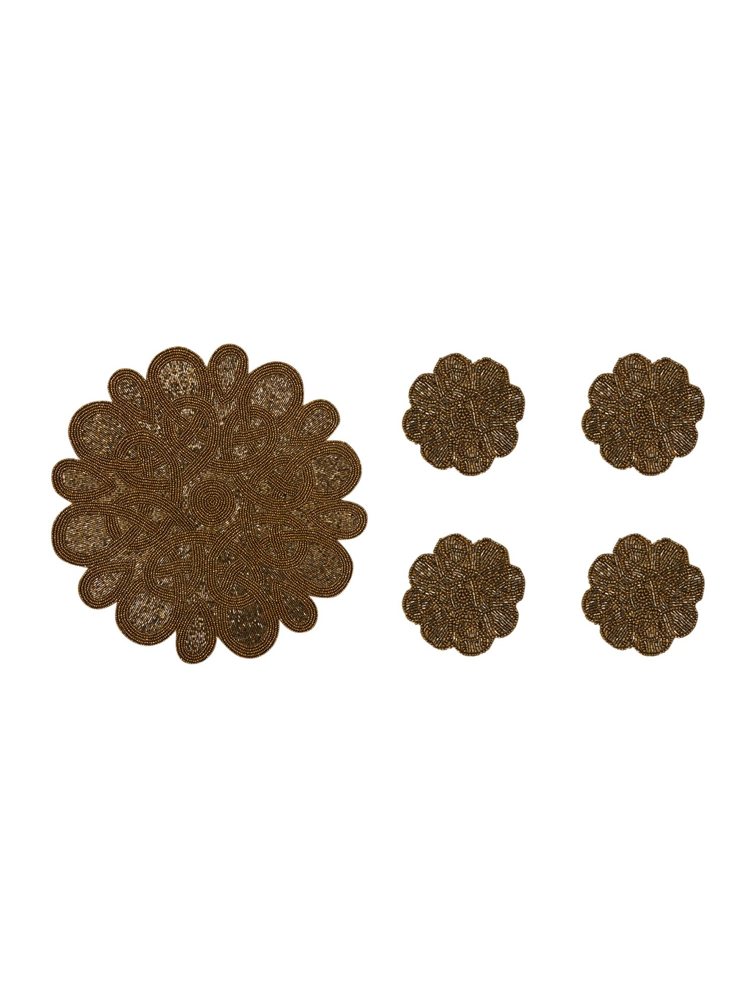 Gold flower coaster and placemats