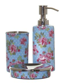 Blue floral bathroom accessories