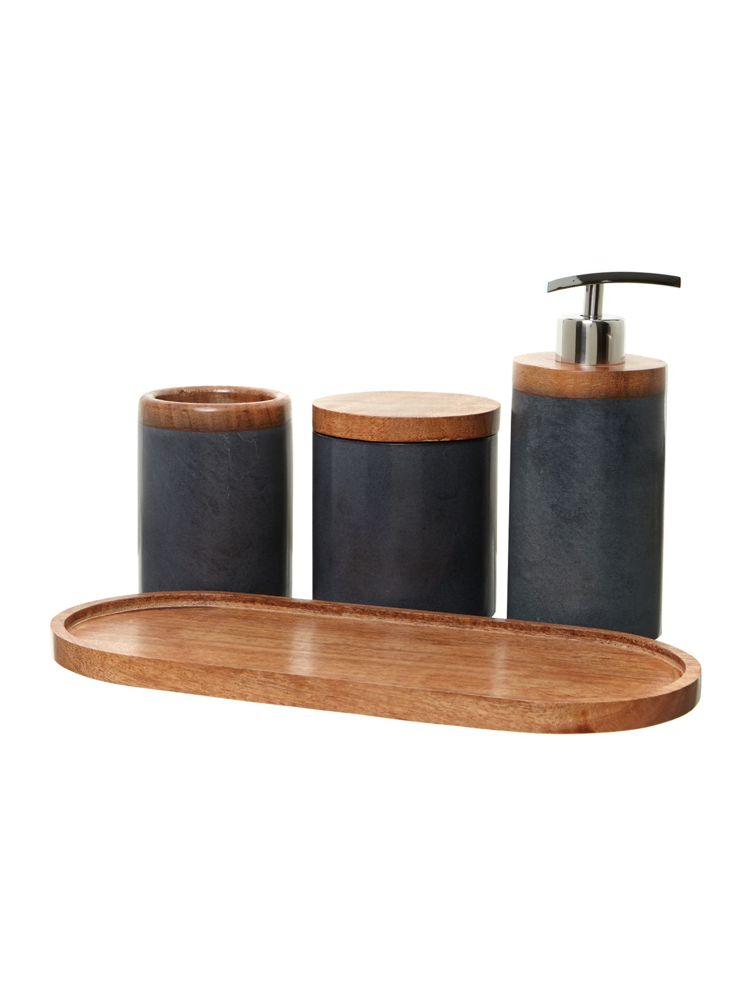 Soapstone and wood bathroom accessories